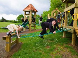 Wooden rope walk for childrens play