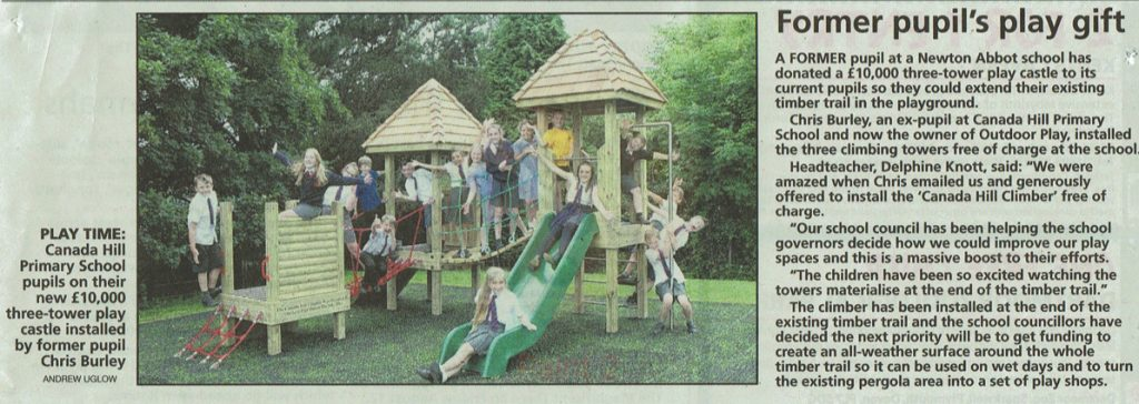 Canada Hill Scool appears in the local paper after we donate the play equipment