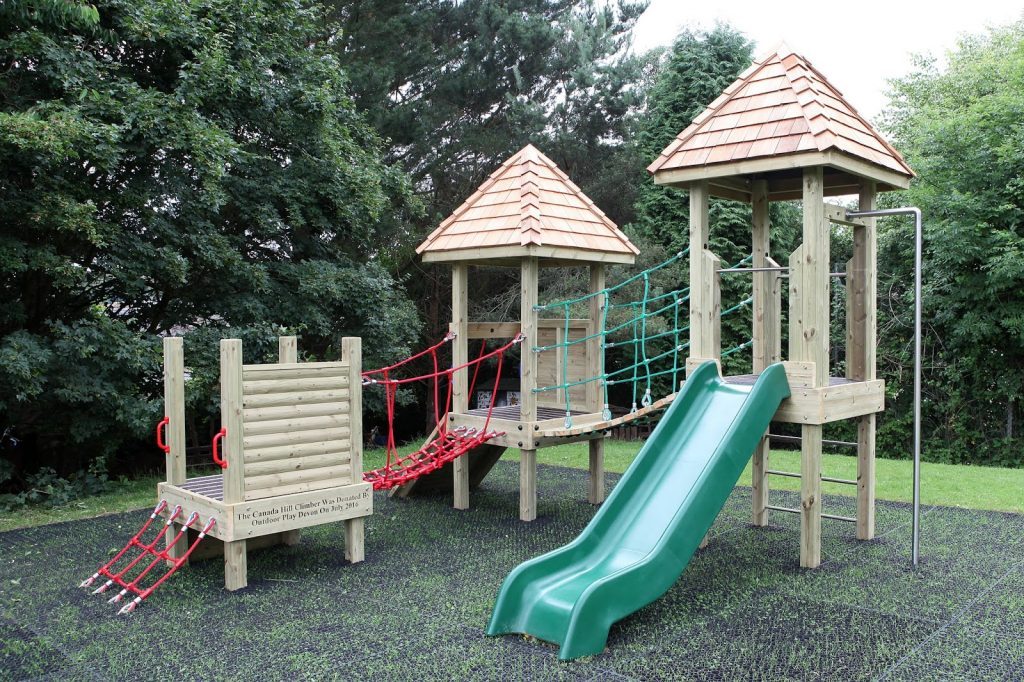 Canada Hill School wooden play equipment installed by Outdoor Play UK