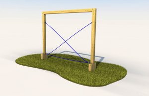 Cross rope traverse play equipment for schools