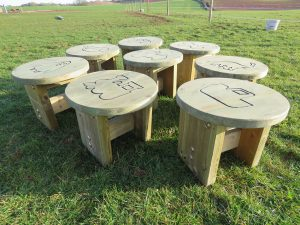 Engraved wooden stools for kids