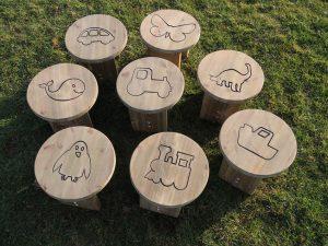 Engraved wooden stools for children