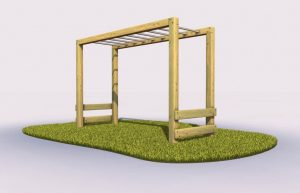 Monkey bars in an outdoor play area