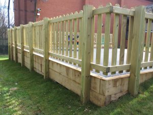 Picket fencing around play area