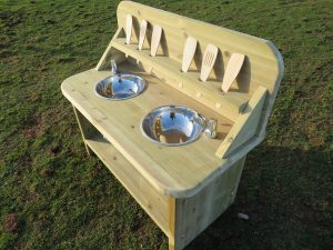 Outdoor play kitchen for young kids