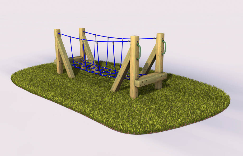 Rope bridge in a playground
