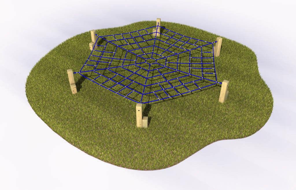 Spiders web crawl play equipment