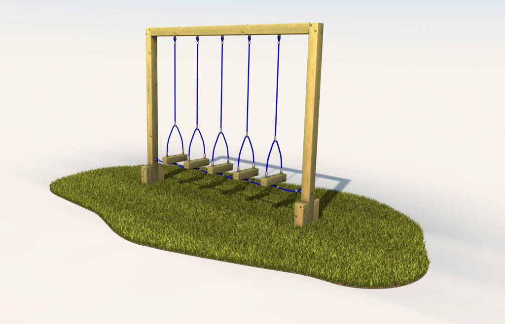 Swinging log steps in playground