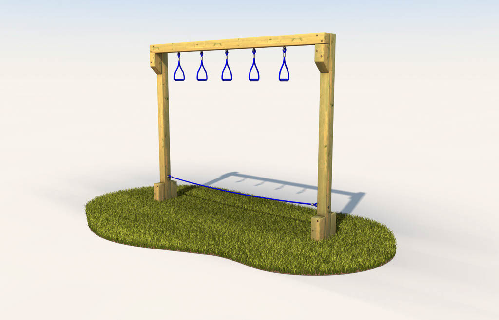 Trapeze swing in play space