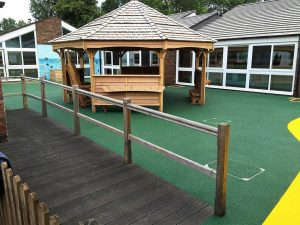 Wet pour safety surfacing for schools