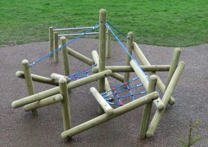 The wooden pole climber with rope supports
