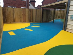 Liquid pur coloured safety surfacing