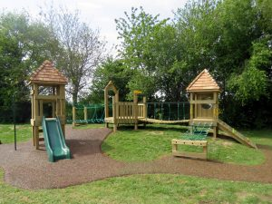 Childrens play tower built using wood