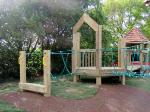 Childrens play tower built from wood