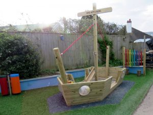 Childrens play house boat in a playground