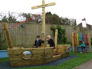 HMS Appledore wooden play boat for kids