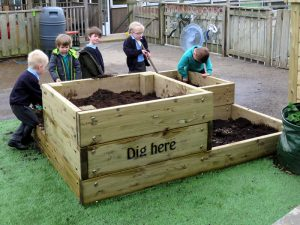 A large wooden planter for kids play area