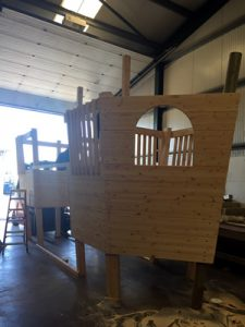 Childrens play house boat being built