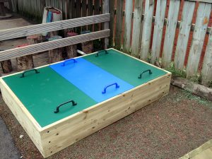 A tripple sandpit with lid