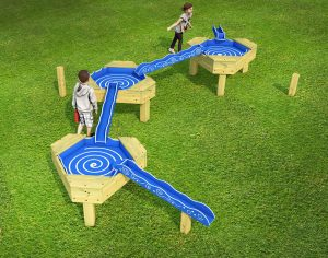 Childrens play water chutes