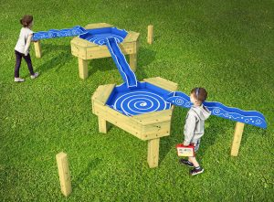 Twin water chutes for play areas