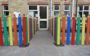 Fun pencil fencing at nursery school