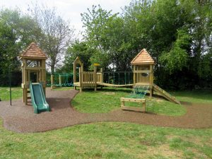 Wooden outdoor play equipment