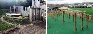 Before and after photo of playground installation