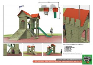 A themed castle for childrens play area
