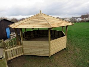 A beautiful wooden gazebo for school children
