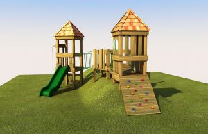 A wooden play tower with climbing ramp
