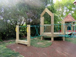 The Ann Edwards wooden play tower with slide
