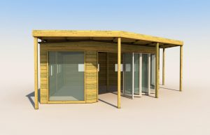 An outdoor classroom built from wood