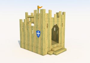 The block rock play castle made from wood