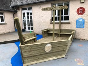 HMS Blackpool wooden play boat