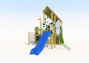 The cross park play tower with rope walk