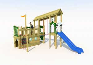 The cross park play tower showing slide