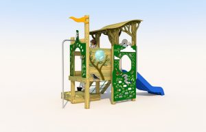 Rear view of the wooden play tower with blue plastic slide
