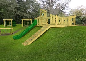An embankment play tower with long slide