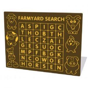 Farmyard word search activity panel