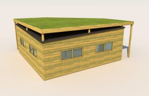 An outdoor classroom built from wood with grass roof