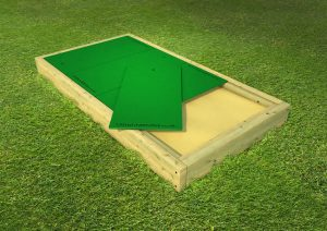 Large wood framed sand pit for play space