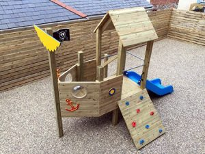 Wooden play tower with boat theme