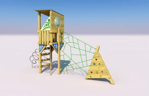 The Holymead play tower with slide pole