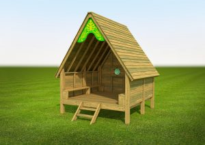 A themed jungle hut for children to play in