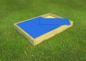 Large wood framed sand pit for childrens play