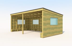 A wood built open fronted shelter