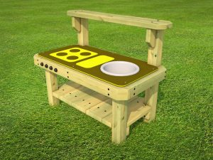 An outdoor play kitchen for kids