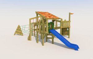 A play tower with long slide for children