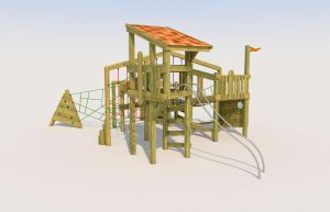 A playground wooden tower with slide poles